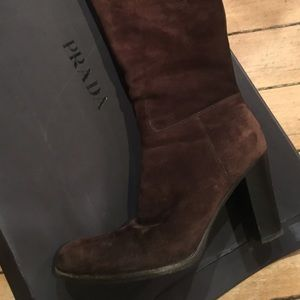 calzature donna Prada Moro Brown suede tall boots